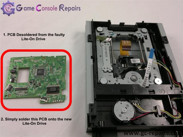 XBOX360 (SLIM) - Lite-On 0225 PCB Desoldered and Placing onto new Drive