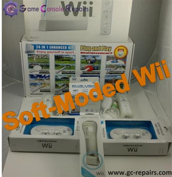 Pre-Moded Nintendo Wii, Soft moded Wii USB Hard Drive & Many Accessories
