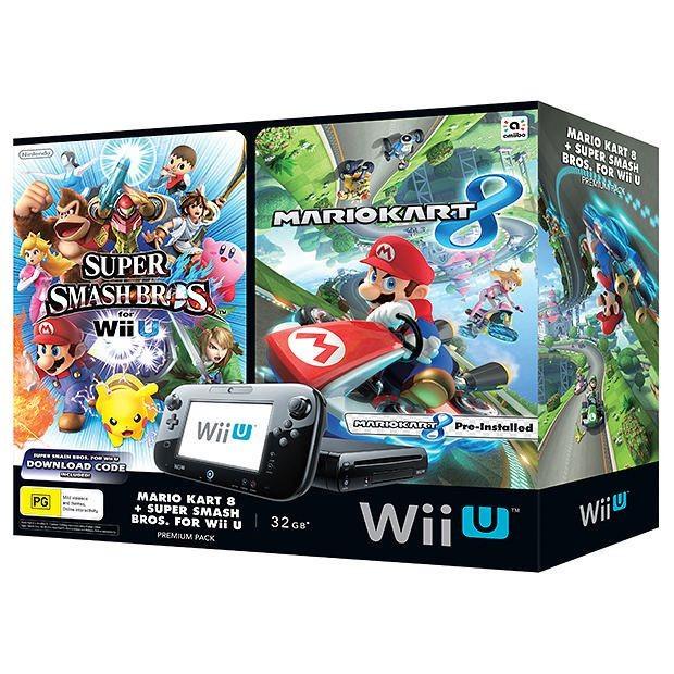 Nintendo Wii U Mario Kart 8 and Super Smash Bros Bundle Package
