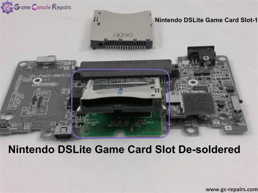 nintendo ds lite game card slot 1 replacement game console repairs. Black Bedroom Furniture Sets. Home Design Ideas