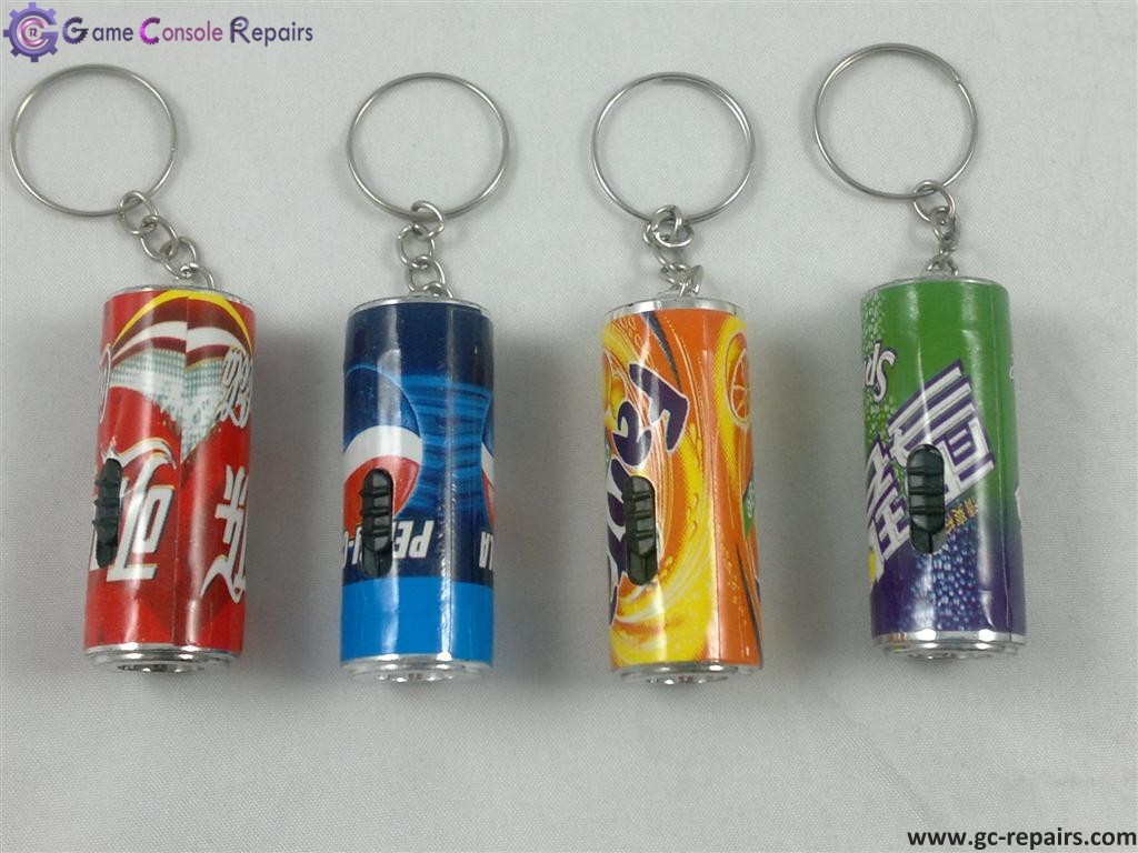 Mini LED Coca cola, Pepsi, Sprite, Fanta Flashlight Keychains with Batteries