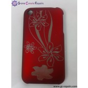 Laser Etching Flower Protective PC Case for iPhone 3G/3GS  - Red
