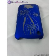 Laser Etching Flower Protective PC Case for iPhone 3G/3GS - Blue